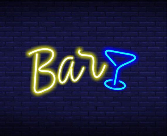 неоновая вывеска бар