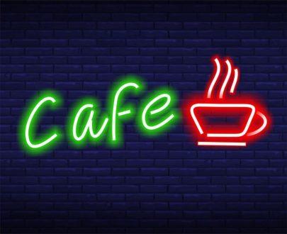неоновая вывеска кафе